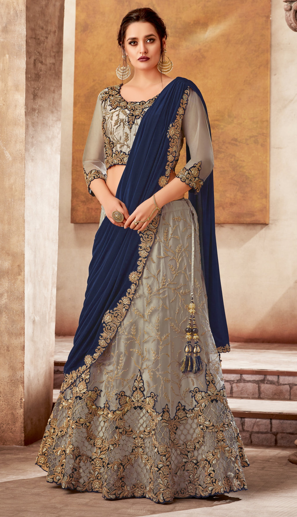 Grey and Teal Blue Color Fancy Designer Lehenga -Khwaish Collection YF#11858