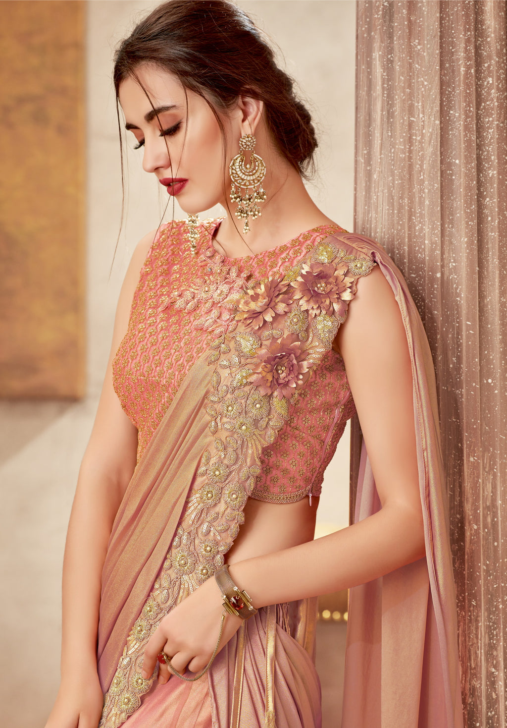 Peach Pink Color Fancy Designer Lehenga -Khwaish Collection YF#11859