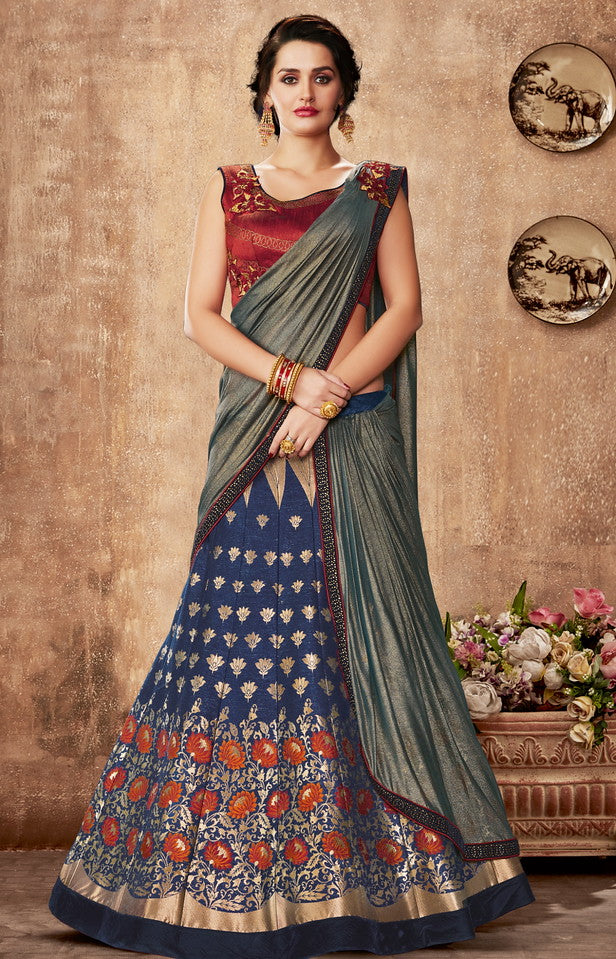 Maroon and Navy Blue Color Fancy Designer Lehenga -Khwaish Collection YF#11860