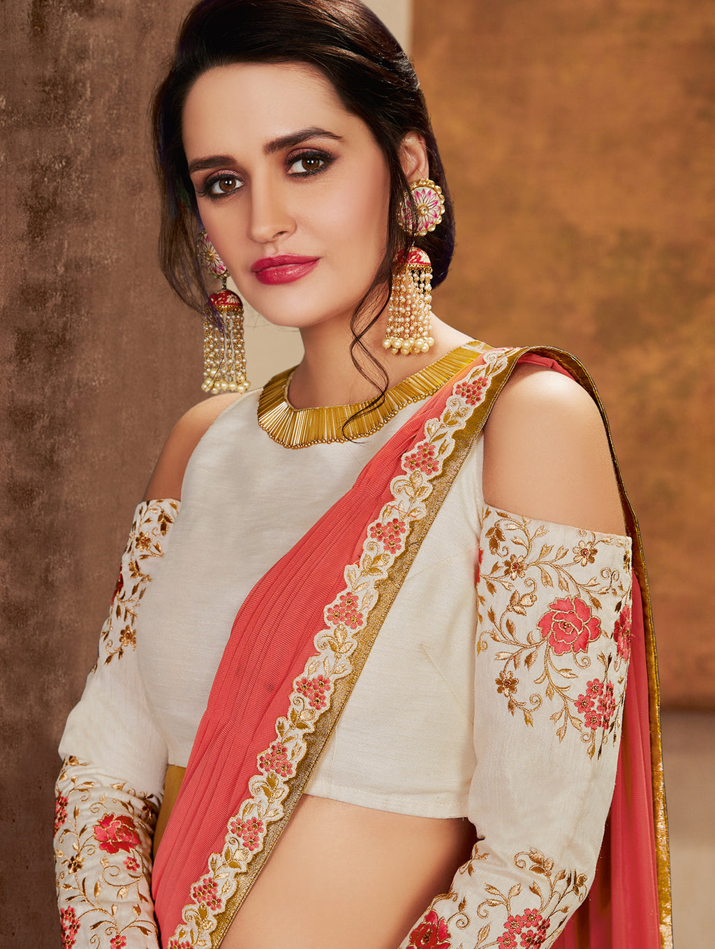 Off White & Peach Color Lycra Designer Lehenga Sarees NYF-6417