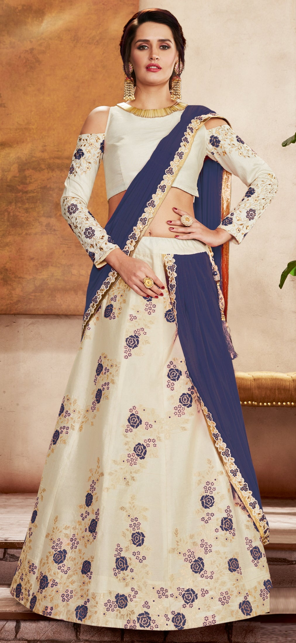 Off White & Blue Color Lycra Designer Lehenga Sarees NYF-6418