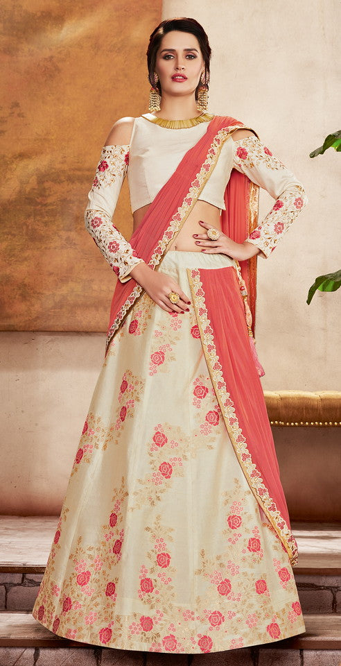 Off white and Coral Pink Color Fancy Designer Lehenga -Khwaish Collection YF#11862
