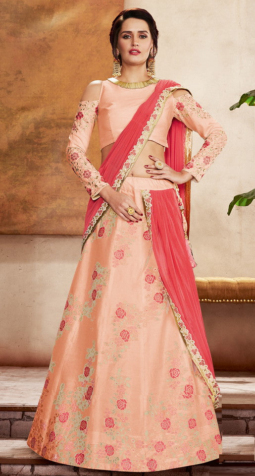 Coral pink and Peach Color Fancy Designer Lehenga -Khwaish Collection YF#11864