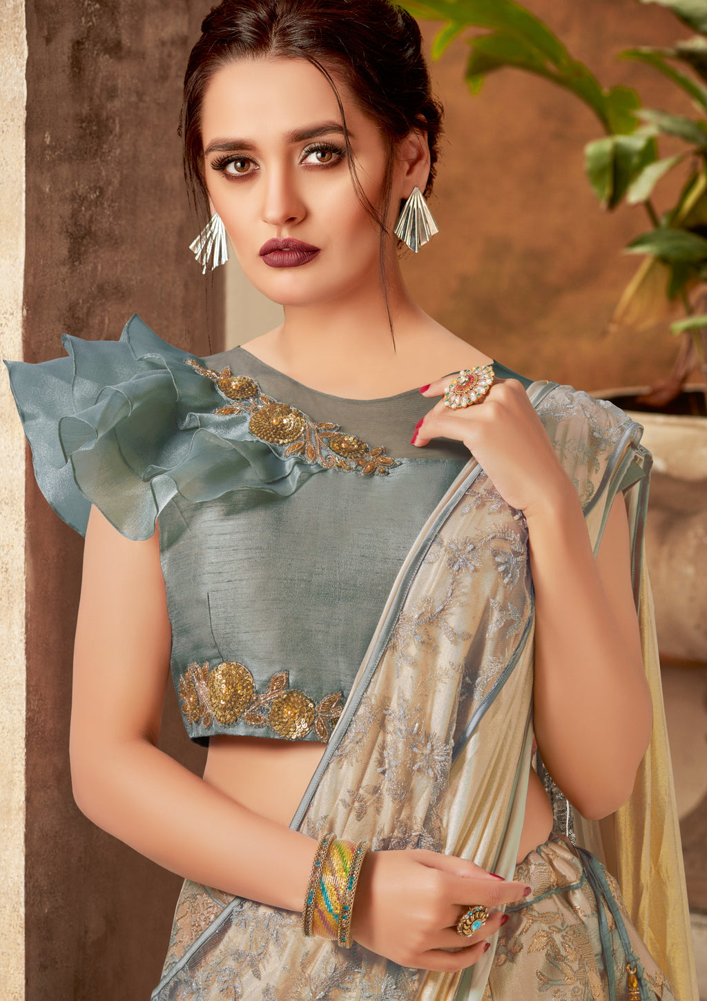 Cream & Grey Color Lycra Designer Lehenga Sarees NYF-5876