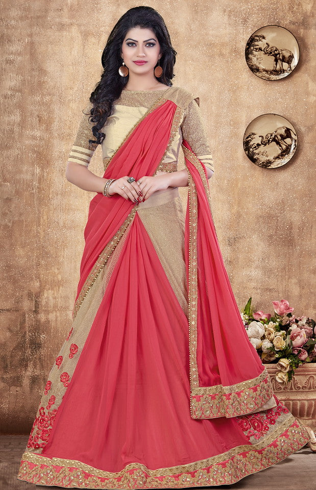 Carrot Pink Color Fancy Designer Lehenga -Khwaish Collection YF#11866