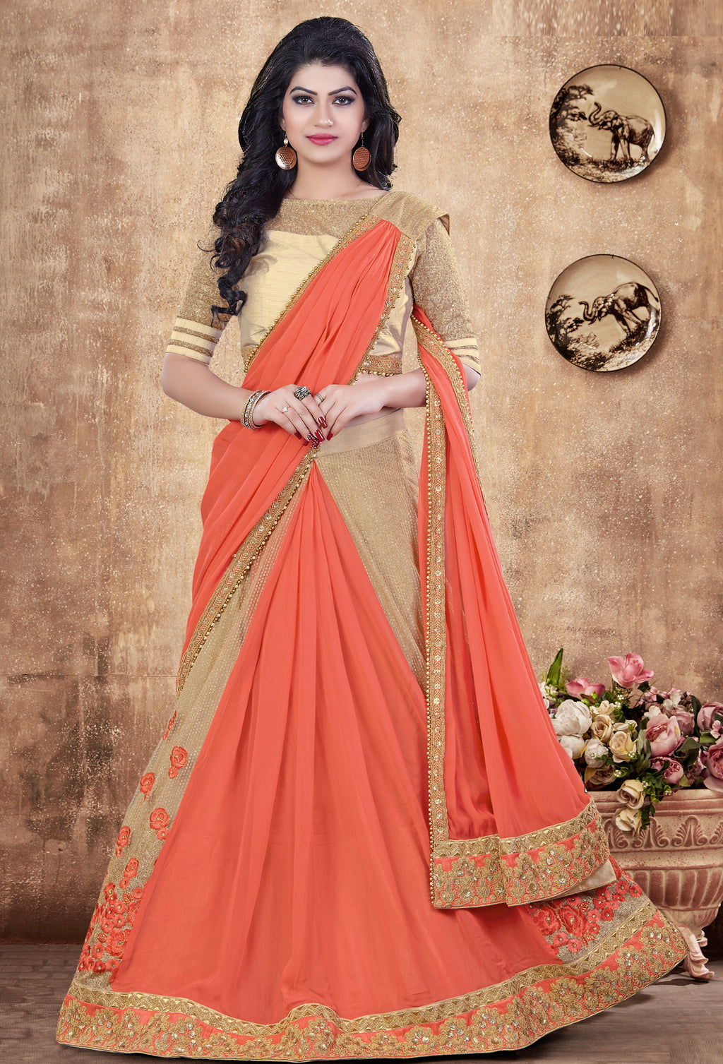 Salmon Color Fancy Designer Lehenga -Khwaish Collection YF#11867