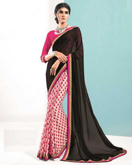 Pink & Black Color Georgette Casual Party Sarees : Bhavini Collection  YF-38445