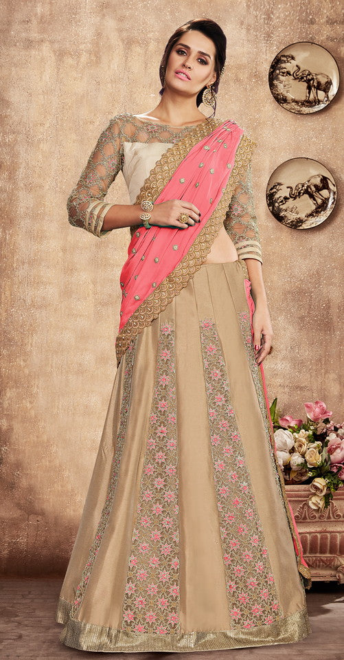 Pink and Beige Color Fancy Designer Lehenga -Khwaish Collection YF#11869