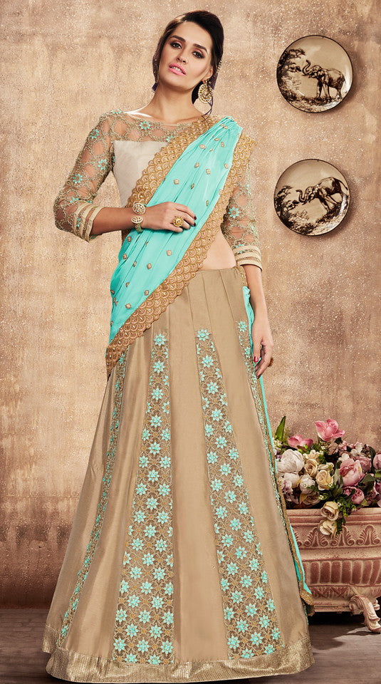 Blue and Beige Color Fancy Designer Lehenga -Khwaish Collection YF#11868