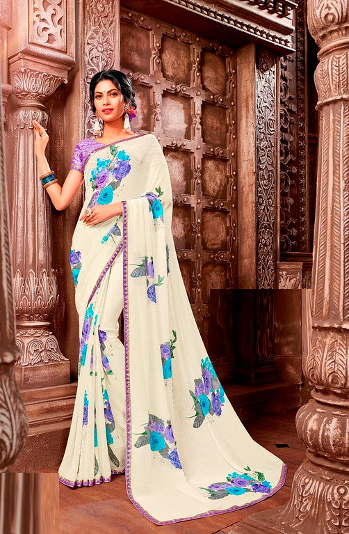 Off White and Blue Color Georgette  Casual Wear Saree -Ladli Bahu  Collection  YF#11324