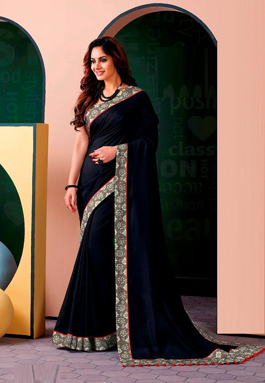 Navy Blue Color Cotton Silk Casual Wear Saree -Ladli Bahu  Collection  YF#11225