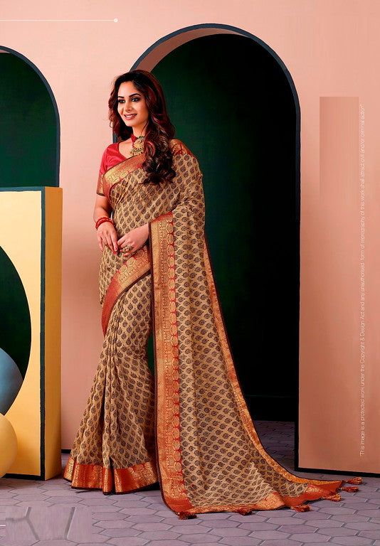 Beige and Red Color Cotton Silk Casual Wear Saree -Ladli Bahu  Collection  YF#11226