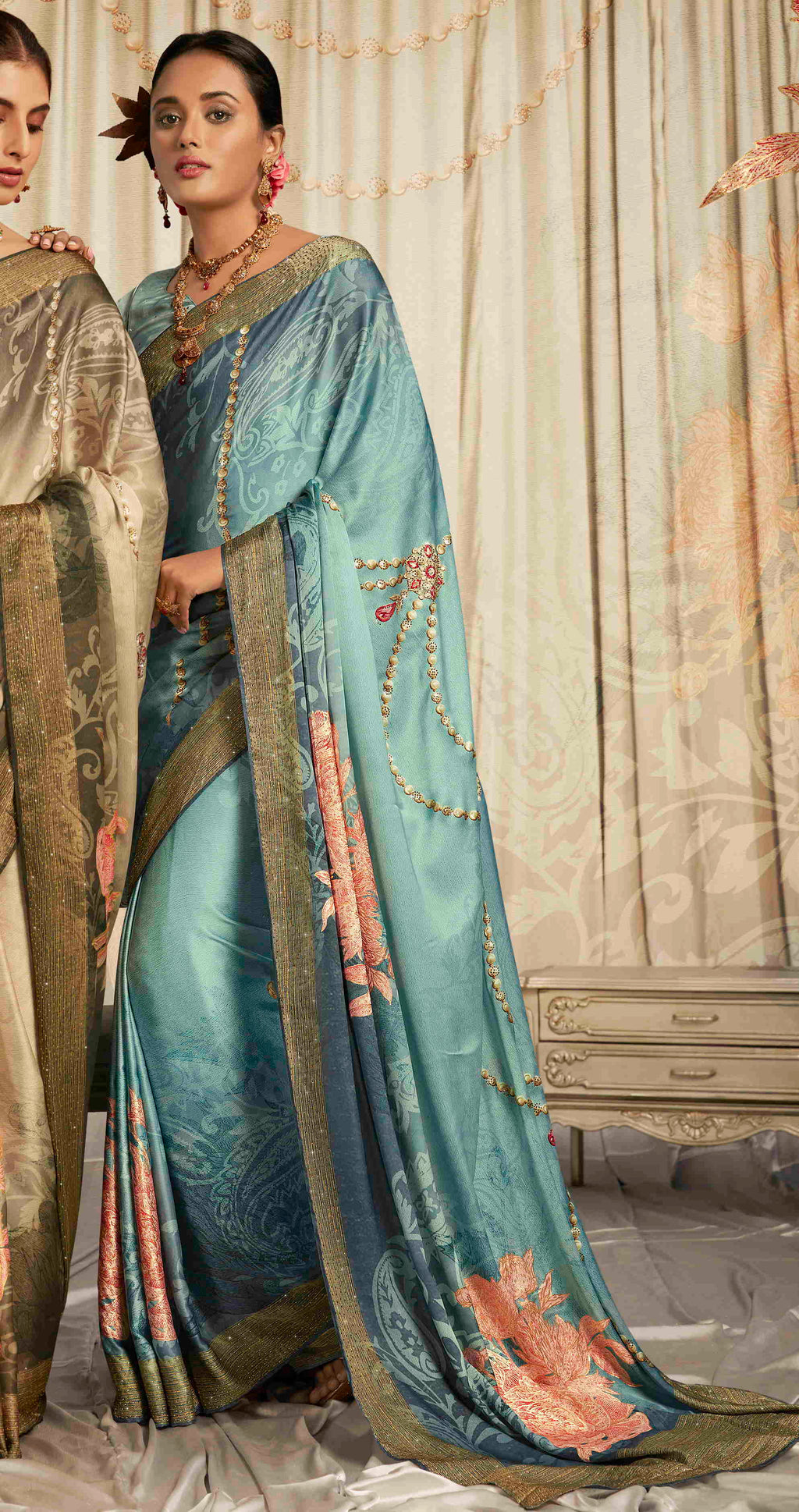 Blue Color Crepe Silk Youthful Designer Sarees NYF-5273