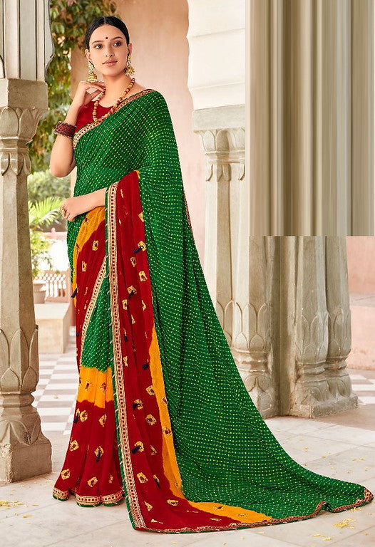 Green, Red and Yellow Color Chiffon Casual Wear Saree -Ladli Bahu  Collection  YF#11229