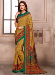 Mustard Yellow & Green Color Crepe Office Wear Sarees : Arnisha Collection  YF-58395
