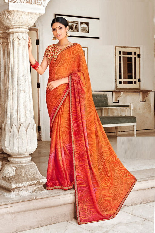 Orange and Pink Color Chiffon Silk Casual Wear Saree -Ladli Bahu  Collection  YF#11231