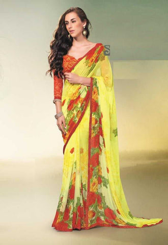 Yellow and Red Color Georgette Casual Sarees : Sharon Collection  YF-19696