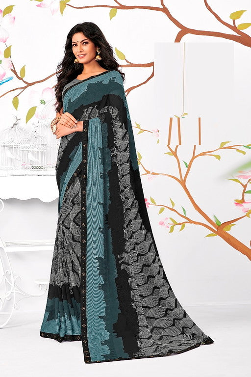 Black and Grey Color Georgette Casual Wear Saree -Ladli Bahu  Collection  YF#11233