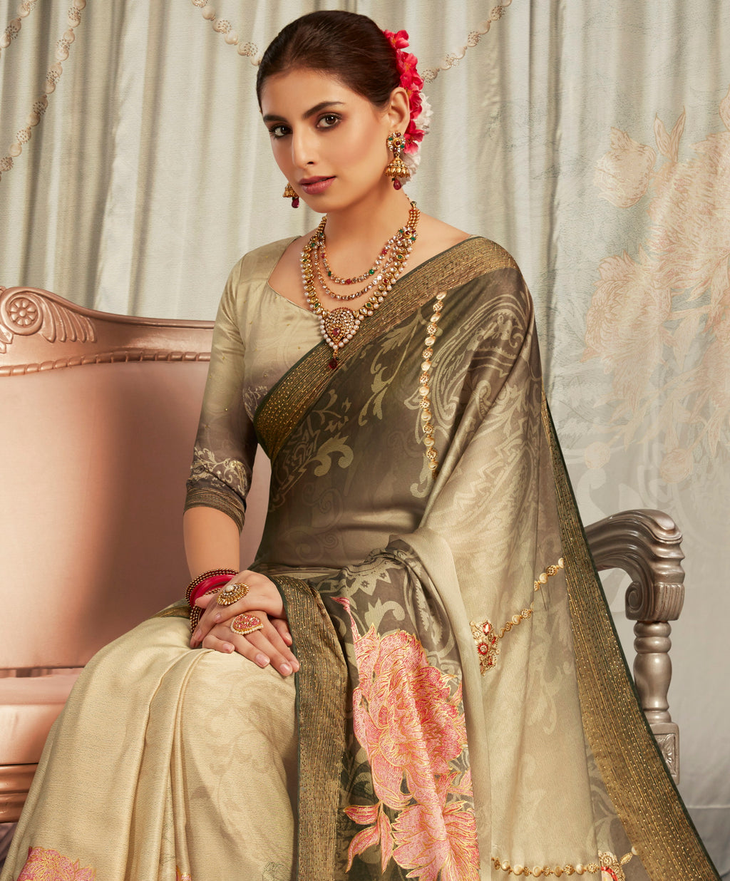 Mud Color Crepe Silk Youthful Designer Sarees NYF-5274