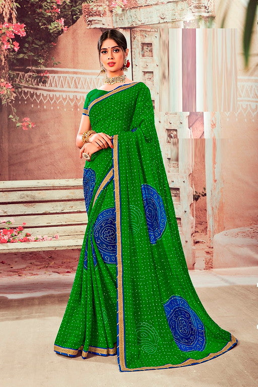 Green and Blue Color Chiffon Casual Wear Saree -Ladli Bahu  Collection  YF#11236