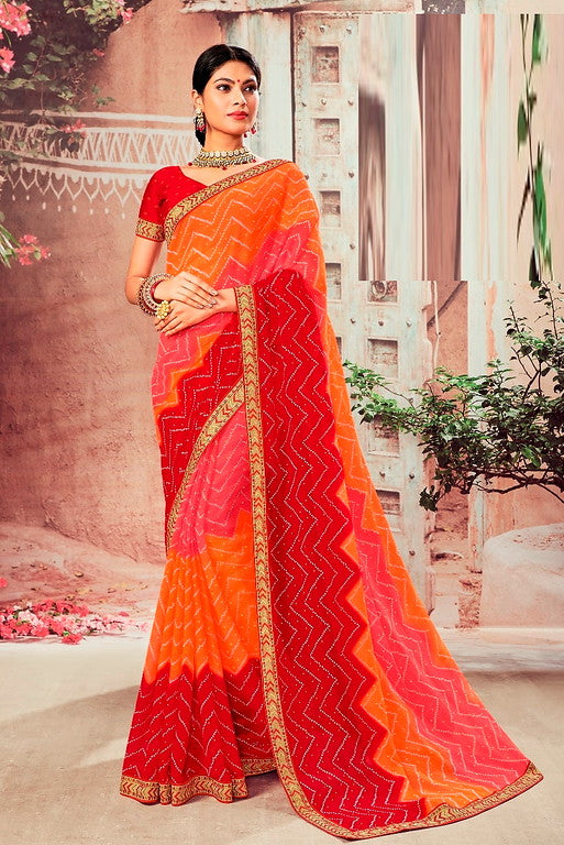 Red, Orange and Pink Color Chiffon  Casual Wear Saree -Ladli Bahu  Collection  YF#11237