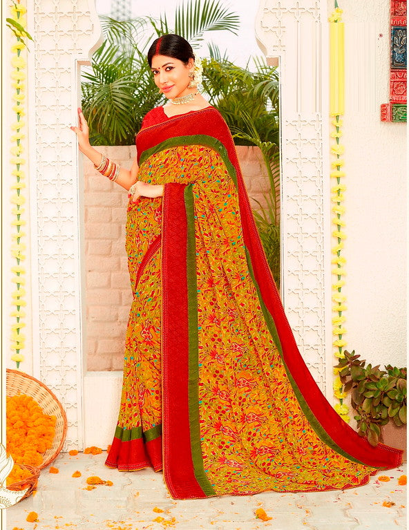 yellow and Red Color Georgette Casual Wear Saree -Ladli Bahu  Collection  YF#11240