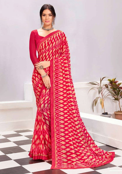 Pink Color Georgette Casual Wear Saree -  Kiah Collection  YF#11389