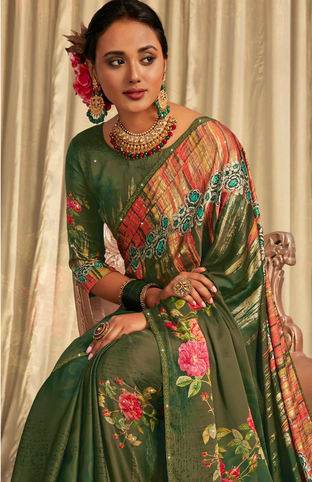 Green Color Crepe Silk Youthful Designer Sarees NYF-5275