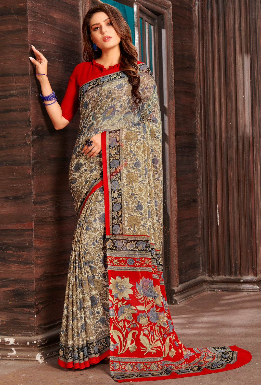 Beige & Red Color Chiffon Home Wear Sarees NYF-8761