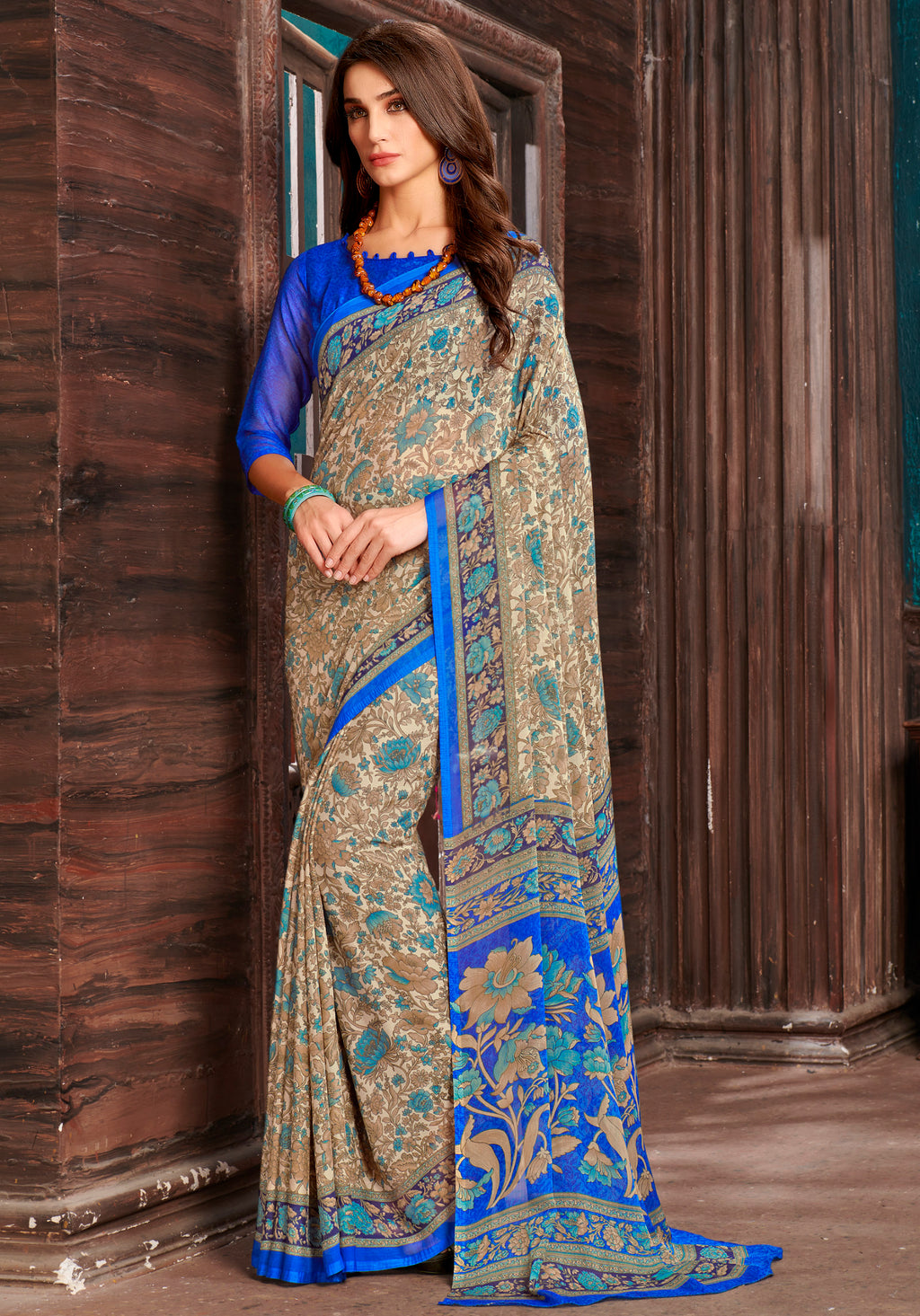 Beige & Blue Color Chiffon Home Wear Sarees NYF-8762