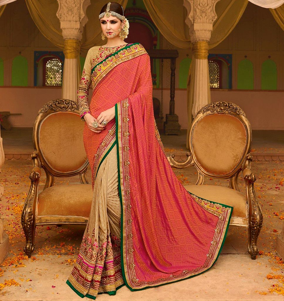 Light Coffee & Pink Color Half Raw Silk & Half Jacquard Crepe Designer Bridal Wear Sarees : Rupnikhar Collection  NYF-1462 - YellowFashion.in