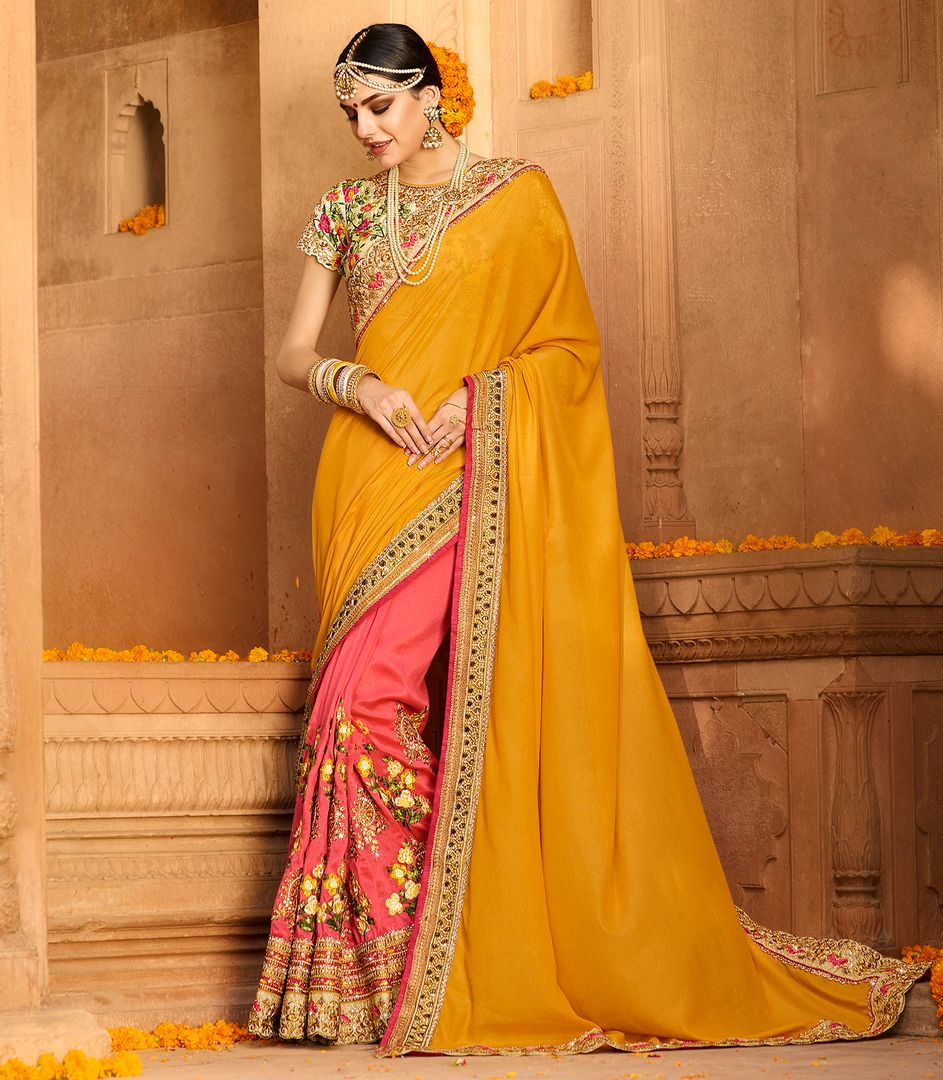 Yellow & Pink Color Tissue Party Wear Sarees : Pinati Collection  NYF-3383 - YellowFashion.in