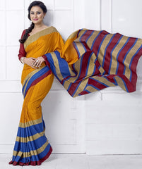 Yellow, Red And Blue Color Linen Cotton Casual Wear Sarees : Mirza Collection  YF-45451