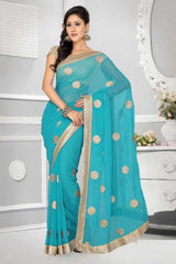 Sky Blue and Beige  Color Chiffon Saree with  Matty Blouse  Party Wear : Divine Collection YF-19516