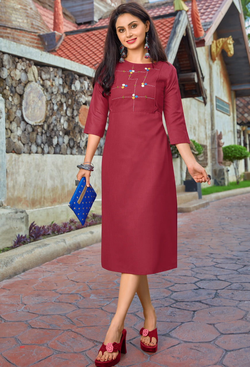 Magenta Color Cotton Casual Wear Kurtis NYF-6802
