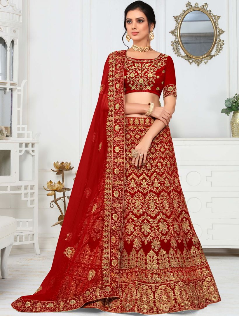 Red Color Velvet Splendid Designer Lehenga NYF-4323 - YellowFashion.in