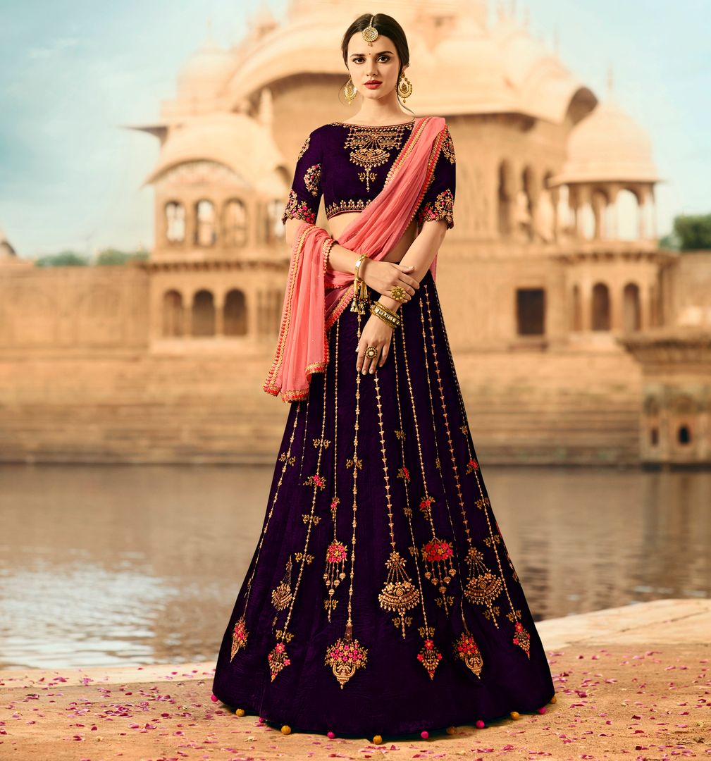 Purple  Velvet Designer Lehenga For Wedding Functions : Kreshti Collection  NYF-3295 - YellowFashion.in