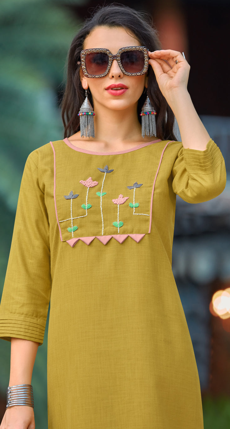 Olive Green Color Cotton Casual Wear Kurtis NYF-6806