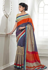 Blue , Orange and Cream  Color Nap Silk with attached border Sarees for Ocassions: Revha Collection YF-18962