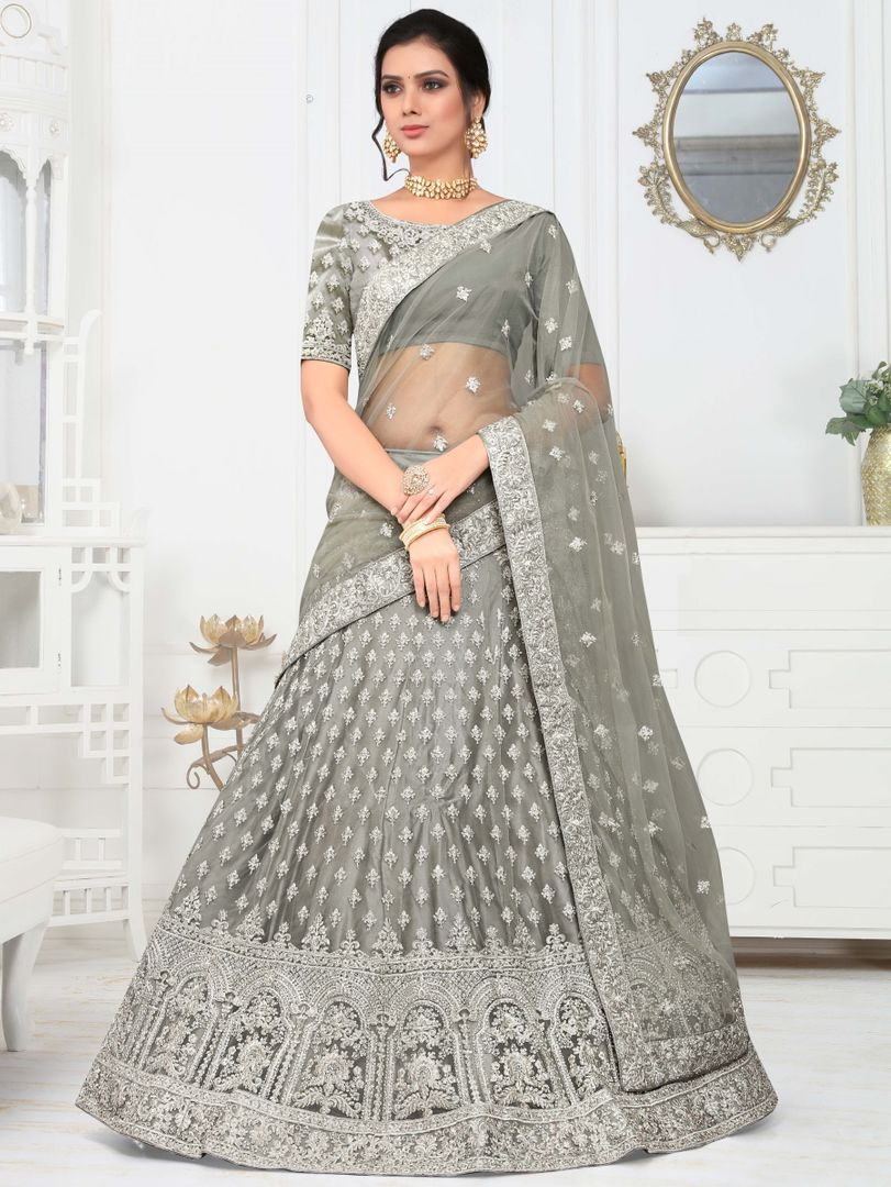 Grey Color Silk Splendid Designer Lehenga NYF-4324 - YellowFashion.in