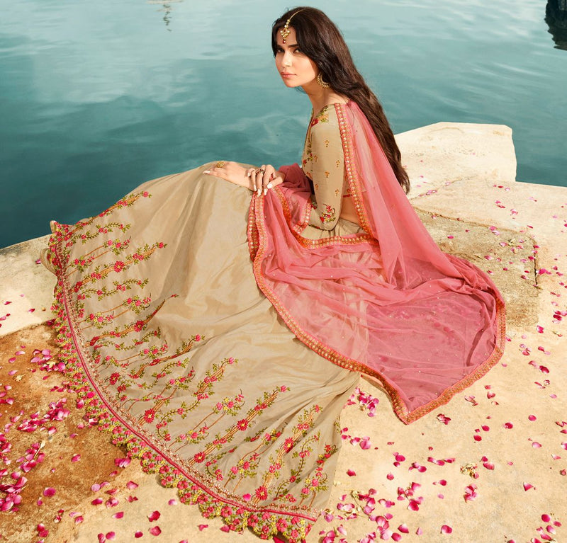 Light Coffee  Raw Silk Designer Lehenga For Wedding Functions : Kreshti Collection  NYF-3296 - YellowFashion.in