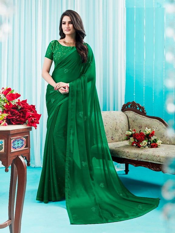 Green Color Silk Georgette Casual Wear Saree -Ladli Bahu  Collection  YF#11242