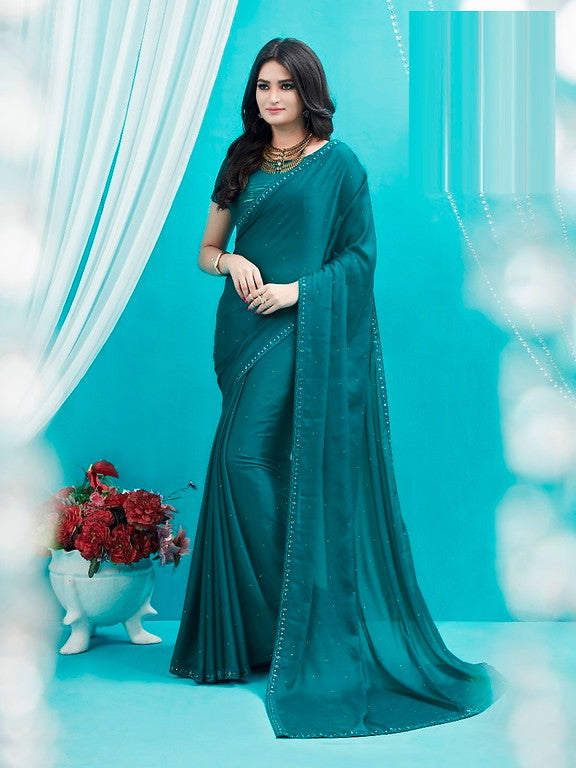Rama Blue Color Silk Georgette Casual Wear Saree -Ladli Bahu  Collection  YF#11243