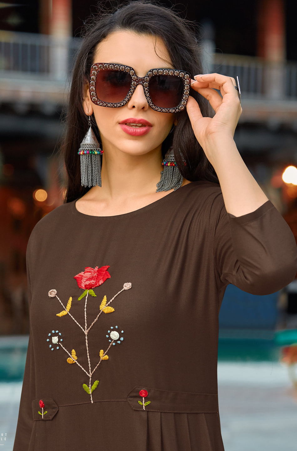 Brown Color Cotton Casual Wear Kurtis NYF-6810