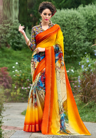 Orange Color Chanderi Silk Designer Digital Print Sarees : Avnita Collection YF-60353