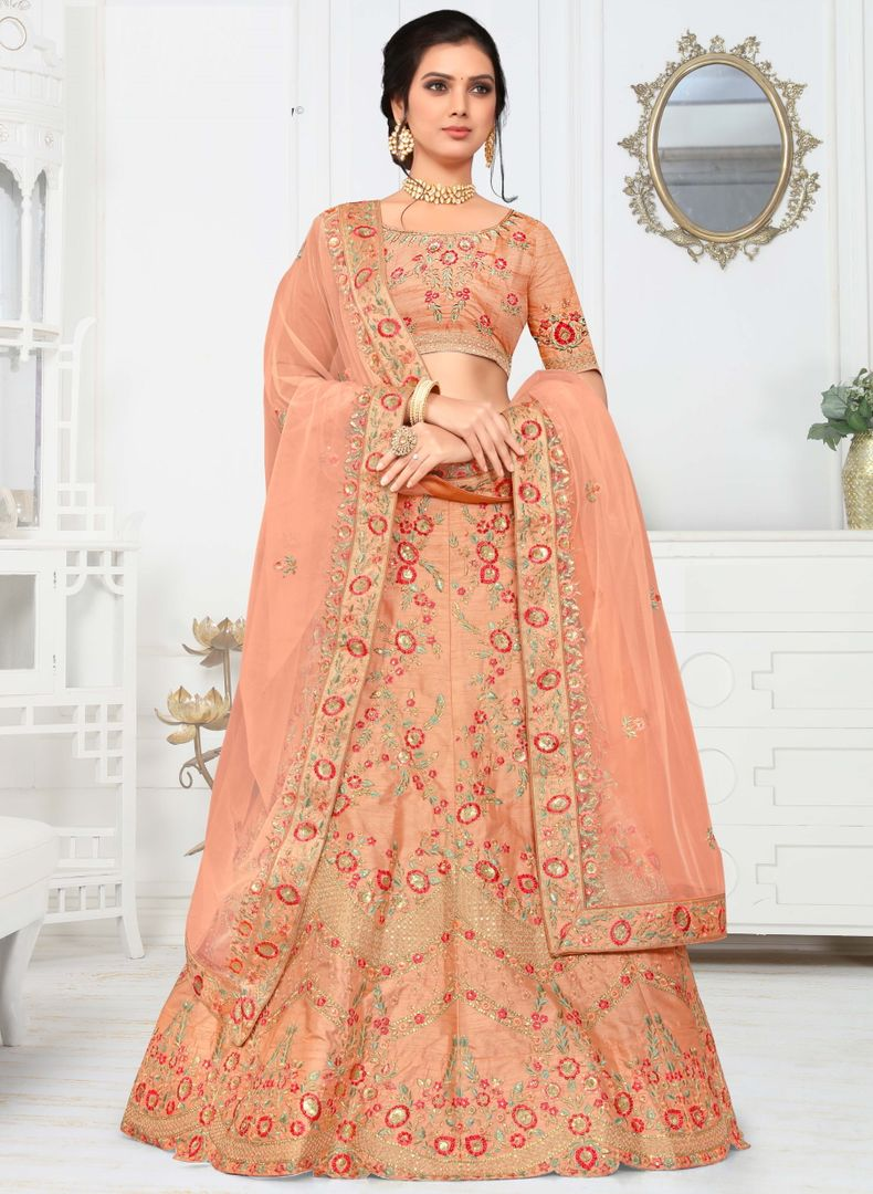 Peach Color Raw Silk Splendid Designer Lehenga NYF-4329 - YellowFashion.in