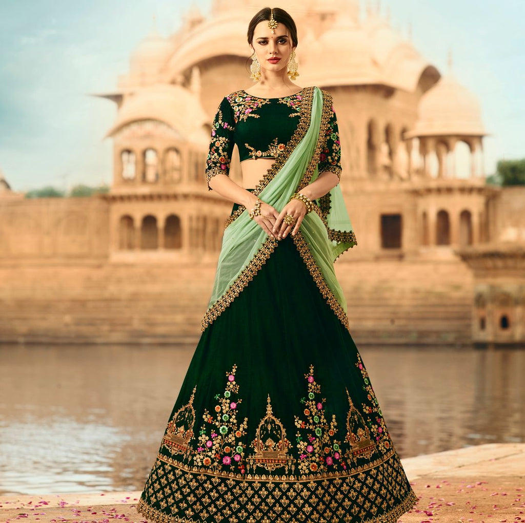 Bottle Green  Velvet Designer Lehenga For Wedding Functions : Kreshti Collection  NYF-3297 - YellowFashion.in