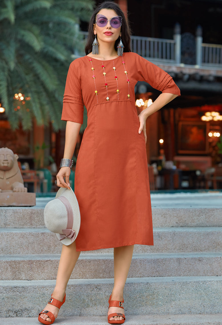 Rust Orange Color Cotton Casual Wear Kurtis NYF-6814