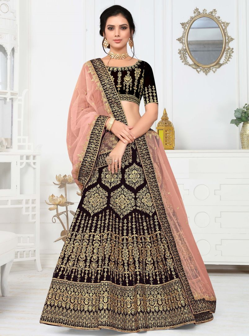 Black Color Velvet Splendid Designer Lehenga NYF-4332 - YellowFashion.in
