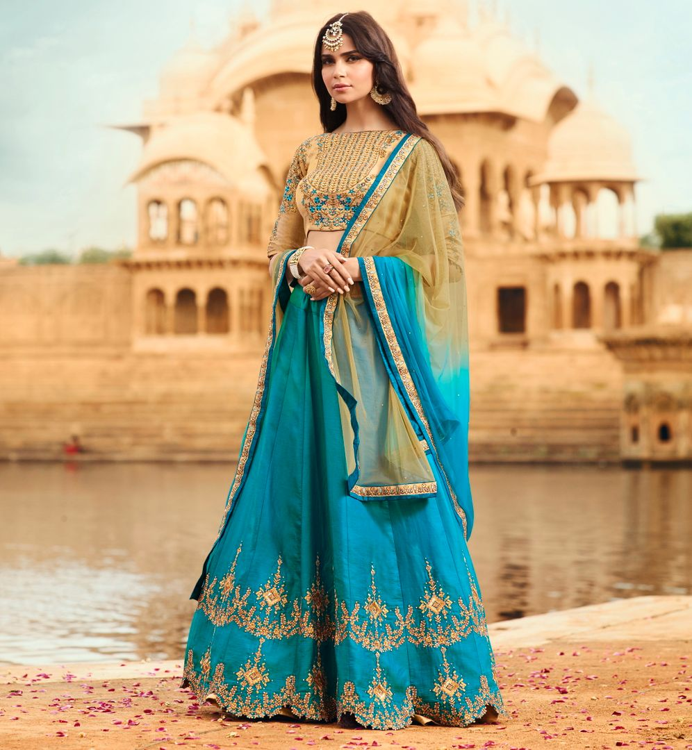 Firozi  Barfi Silk Designer Lehenga For Wedding Functions : Kreshti Collection  NYF-3298 - YellowFashion.in